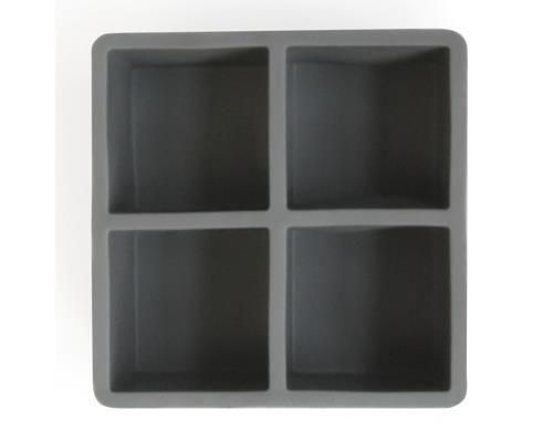 Eisform für grosse Eiswürfel (grau) / Ice Cube Tray 6.3cm x 6.3cm (4 Würfel pro Form)